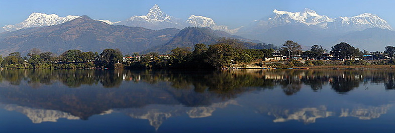 The Himalaya from Phewa Lake near Pokhara